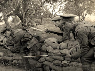 Soldiers attacking with bayonets